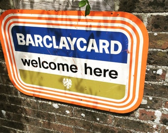 Vintage metal advertising sign, 1980's  'Barclaycard'