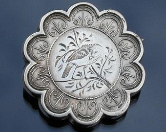 Hallmarked silver scallop edged Brooch. Probably Victorian
