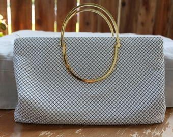 Shipping Only White Mesh Purse Vintage 1980's Warren Deen Handbag Shoulder bag Gold Tone Metal Handles Detachable Long Strap Evening Bag