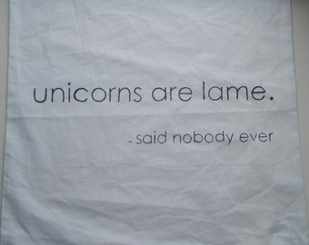 "Cushion cover 50 x 50 cm ""unicorns are lame - said nobody ever"", hand-painted"