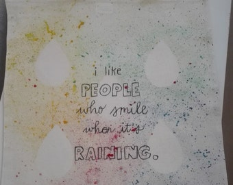 """Jute bag """"I like People who smile when it's raining"""" - inscription, multi colored, hand painted"""