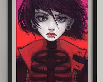 """Ribcage -  Original Art Print (A3/11.7""""x16.5"""")"""