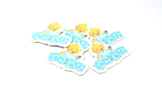 24 pieces blue baby boys plastic confetti baby shower for Baby first tooth decoration