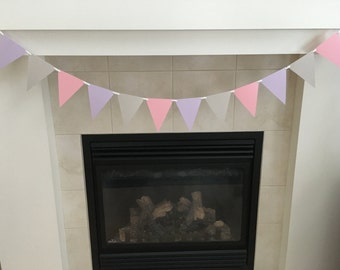 Pink and Lilac Triangle Banner, Pennant Banner, Pink and Lilac Birthday, Photo Prop, Cake Smash, Baby Shower