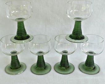 Vintage German Green Roemer Glasses,Set Of 6 Vintage  Glasses