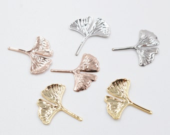 2pcs 14k gold/rose gold/rhodium plating over brass ginkgo leaf charm/pendant/fingdings, 19MM*16.2MM