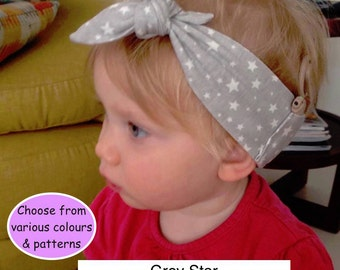 Girls Tie headband for cochlear implant - custom made to size
