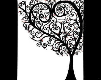 Heart Tree Canvas Painting - Black and White Tree Wall Art - Personalizable gift For Her - Personalized Tree - Tree Silhouette - unique tree