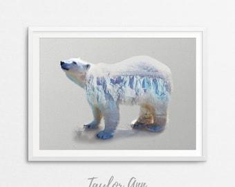 Polar Bear Print, Polar Bear Wall Art, Arctic Animals, Instant Digital Download, Polar Bear, Printable Download, Double Exposure
