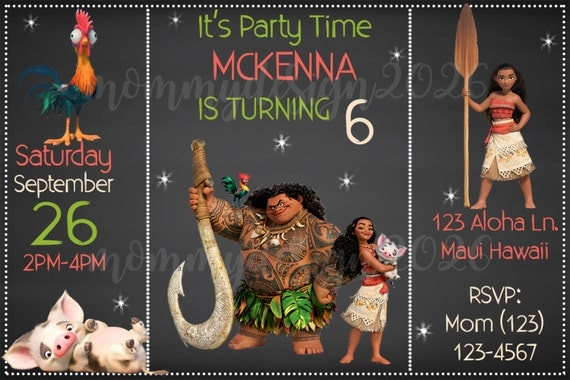 Moana Kids Birthday Party Invitations