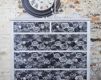 Gray and Black Antique Lace-Pattern Dresser