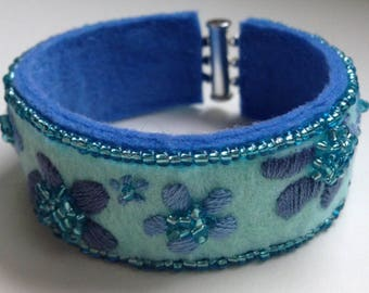 embroidered felt gift money turquoise blue Cuff Bracelet