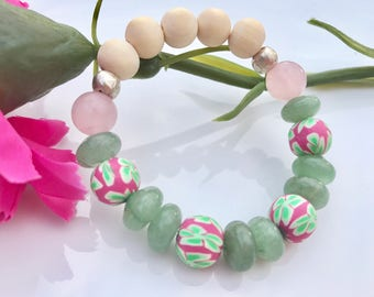 Childs Pink/Green Floral Aromatherapy Diffuser Bracelet