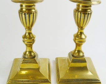 Antique Gerogian ENGLISH - Pair of Dwarf BRASS Candlesticks
