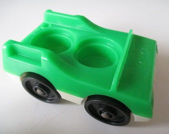 Vintage 1970's Fisher Price Little People Car - Green and White with 2 Seats