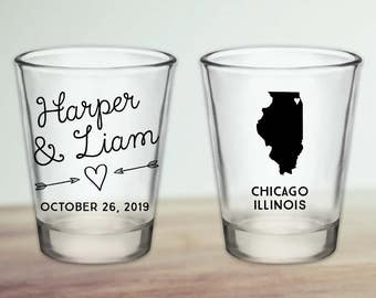 Custom Illinois Wedding Favor Shot Glasses
