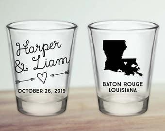 Custom Louisiana Wedding Favor Shot Glasses