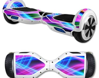 Neon Light Waves Decal Only, Skin Decal Wrap for Self Balancing Scooter Hoverboard unicycle, Hover Board, Balance Board Decals Only