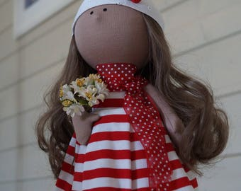 Handmade doll toy Tilda doll Interior doll Art doll red white colors