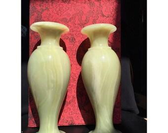Handcrafted  Jade Vase 26cm Pair