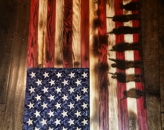 Handmade wooden American flag w/ soldiers