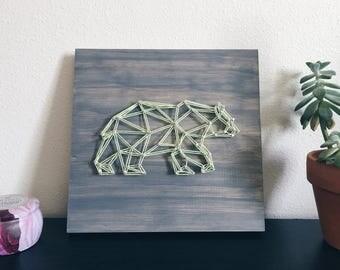 Father's Day Gift | Papa Bear Constellation | Geometric Bear String Art | Handmade Minimalist Bear Wall Art