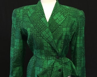 Neiman Marcus Patterned Silk Blazer