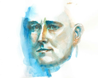 Print of Young FDR watercolor painting
