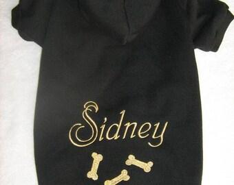 Dog Hoodie. Personalized Name. Custom Dog Sweater. Dog Clothes. Doggie Hoodie. Pup Hoodie. Dog Bones. Machine Embroidery