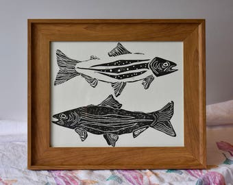 Nature Poster, Taxonomy Art, Black and White Print, Linocut Print, Block Print Art, Fish Trout Poster, Summer Home Art, Cabin Wall Art