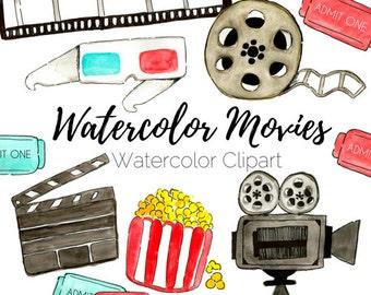 Movie Clip Art - Watercolor Clip Art - Cinema Clip Art - Hand Drawn Clip Art - Commercial Use