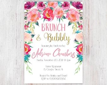 Bridal Shower Invitation, Floral Bridal Shower Brunch Invitation, Printable Bridal Shower 3