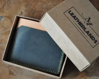 C04 Modern Design Bifold Wallet in Green & Natural/ Made to Order/ Gift ideas/ Minimalist/ Leather Wallet