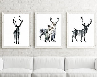 Deer, nursery art, nursery decor, Stag art, woodland animals, printable nursery, kids wall art, nursery print, baby animal print