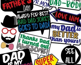 Father's Day Photo Booth Props - 35 Printable Party Props - Happy Father's Day, Thank You Dad, Love You Dad, Daddy - INSTANT PDF DOWNLOAD