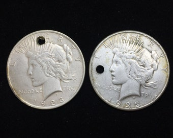 2 Silver Peace Dollars  - Holed -   1923-s, 1923-p   Survival Silver