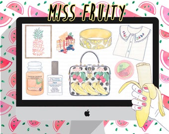 fashion girl clipart, watercolor clip art PNG, planner stickers, fruit,hand drawn,planner clipart, fashion illustration