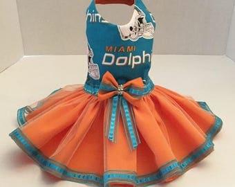 Miami Dolphins Dog Dress, Dog TuTu Dress, Miami Dolphins Tulle Dog Dress, Miami Dolphins Pet - Dog Costume