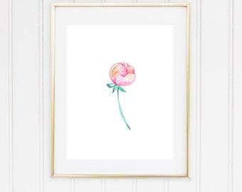 Watercolor Print - Pink Rose Floral Digital Download Print