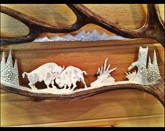 Bison Antler Carving Moose Antler Carvings Moose Antler Art Moose Carvings Eagle Carvings Moose Horn Carving Carved Antlers Antler Decor
