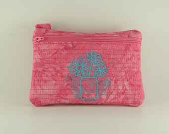 Mother's Day Embroidered and lined rectangle zipper bag with handle