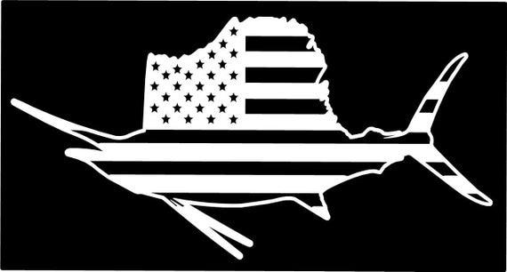 American flag sailfish fish fishing vinyl die cut sticker for American flag fish