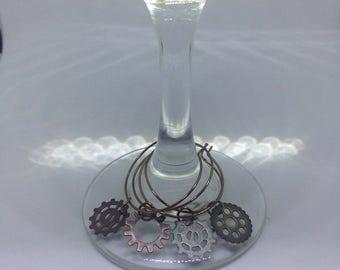 Steampunk wine charm set