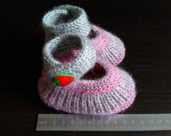 Hand knitted little lady booties.