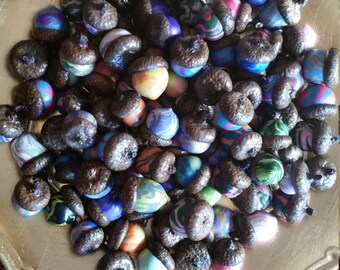 An Assortment of Psychedelic Polymer Clay Acorns