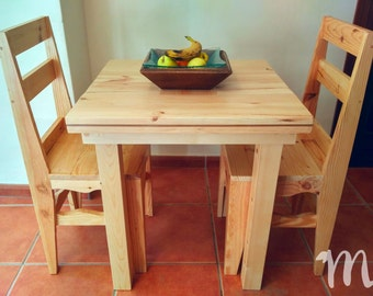 Table of dining room of wood rustic-Luján small