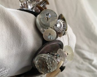 Antique Mother of Pearl & Glass Button Bracelet