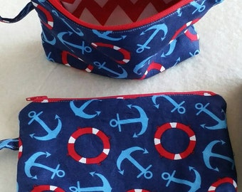 Nautical themed cosmetic bag