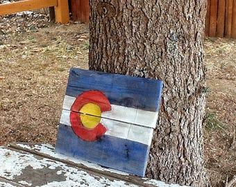 Colorado flag sign, rustic wood Colorado flag, Colorado decor, Colorado wall art, Colorado state flag, rustic Colorado flag, wood flag,
