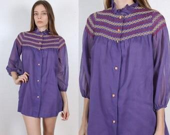 60s Mini Dress // Vintage Blouse Button Up Tent Micro Mini Dress Long Sleeved - Extra Small xs, Petite